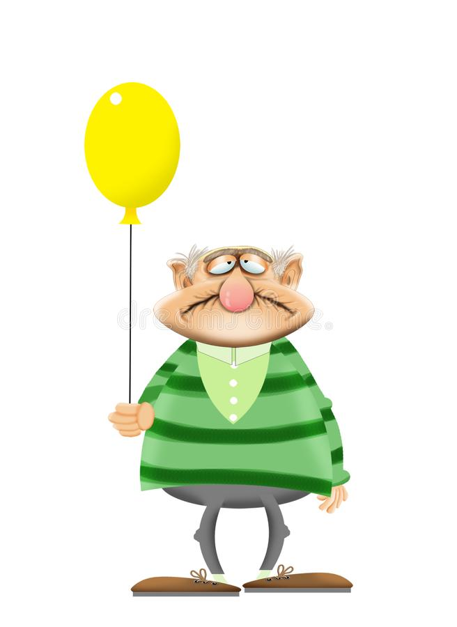 一个老人的动画片没有牙的 免版税库存照片