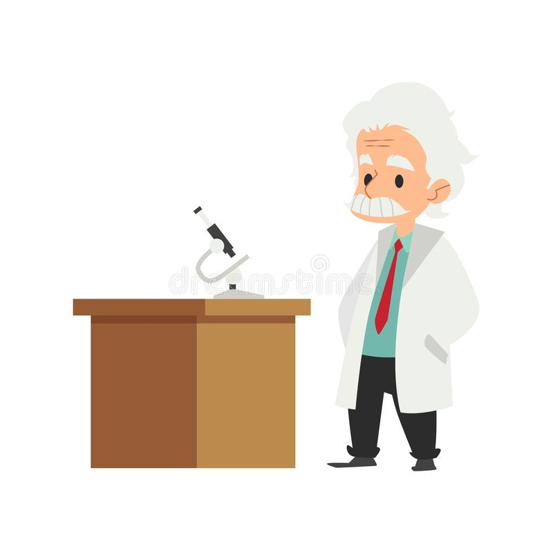 一个老人,实验室外套的一位科学家走向桌在有显微镜的实验室 库存例证