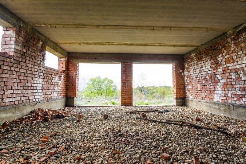 一个老大厦的内部建设中 wal橙色的砖 图库摄影