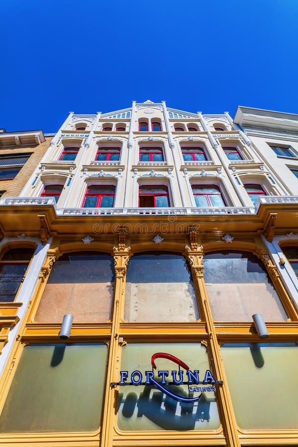 一个老大厦的门面在乌得勒支,荷兰 库存图片