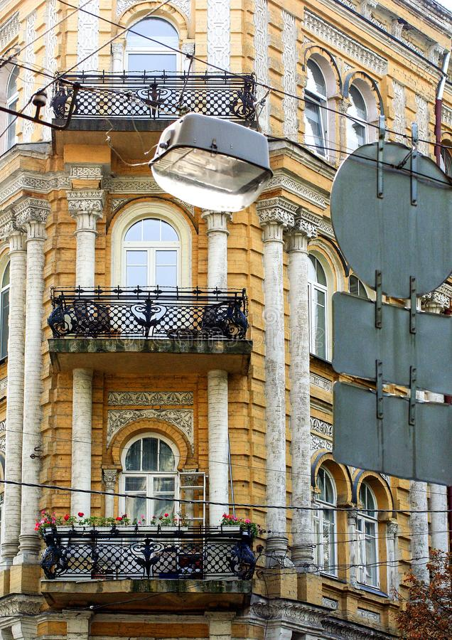 一个老大厦的Façade在基辅 现代乌克兰的建筑学 库存图片