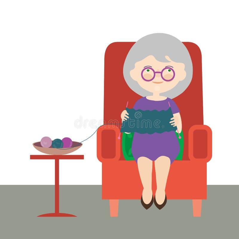 一个老妇人或祖母的平的设计动画片例证 坐在一把红色扶手椅子和穿毛线衣-传染媒介 库存例证