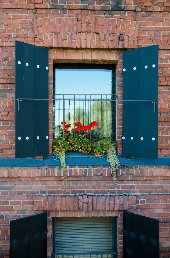 一个老房子的窗口有花的 免版税图库摄影
