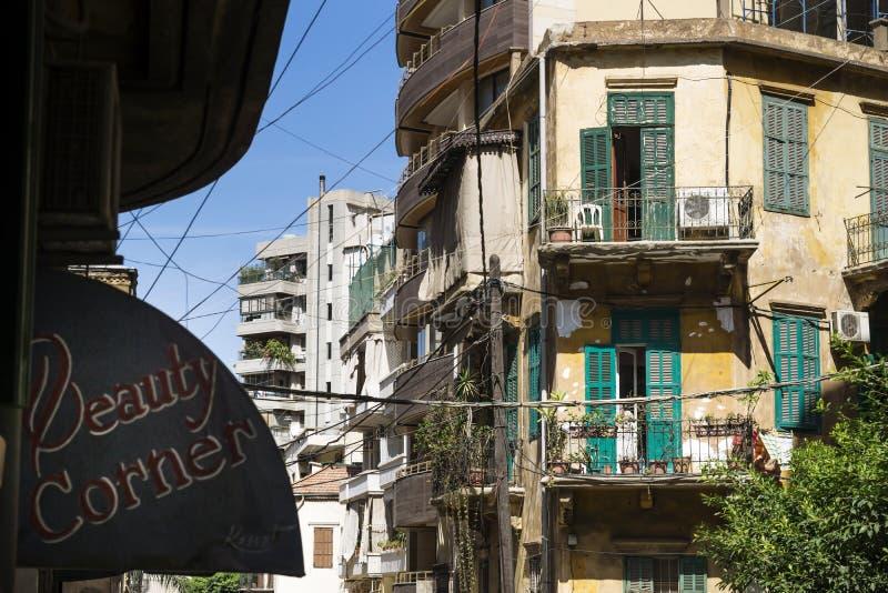 一个老房子的阳台贝鲁特,黎巴嫩街道的  库存图片