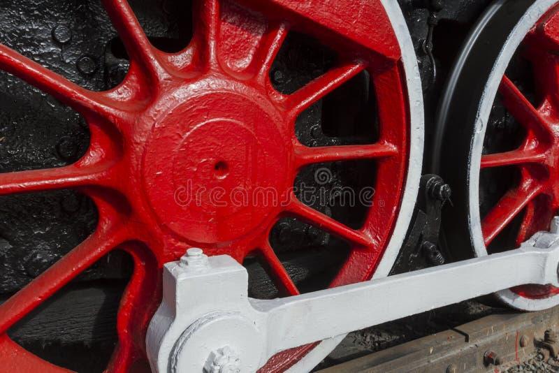 一个老机车的轮子 交通博物馆 恢复的老蒸汽机车 图库摄影