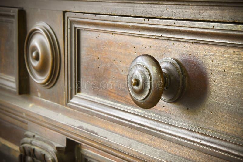 一个老瘤的细节转动了木-老托斯卡纳家具-意大利,19世纪 图库摄影