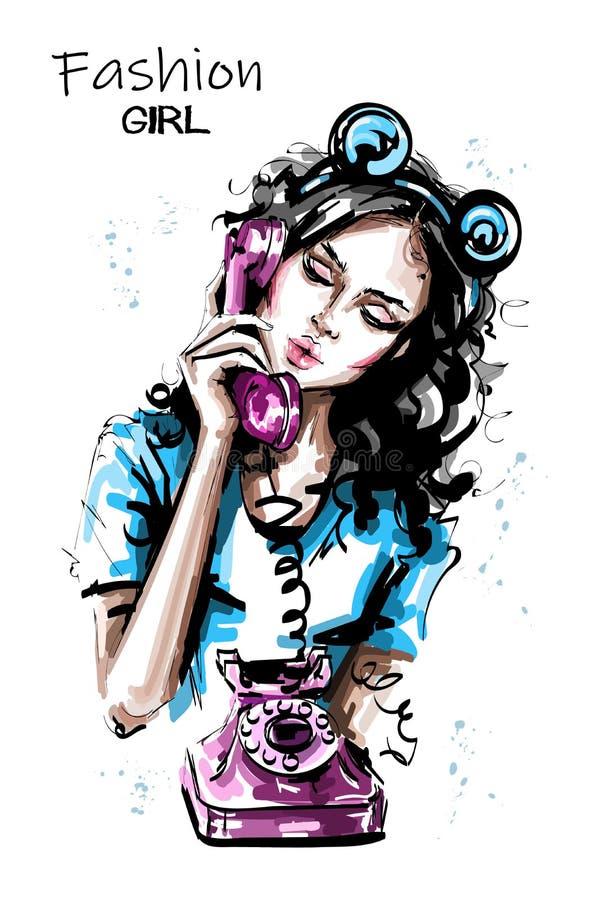 一个老葡萄酒样式电话的手拉的美丽的年轻女人藏品手机 有熊耳朵顶头辅助部件的时髦的女孩 向量例证