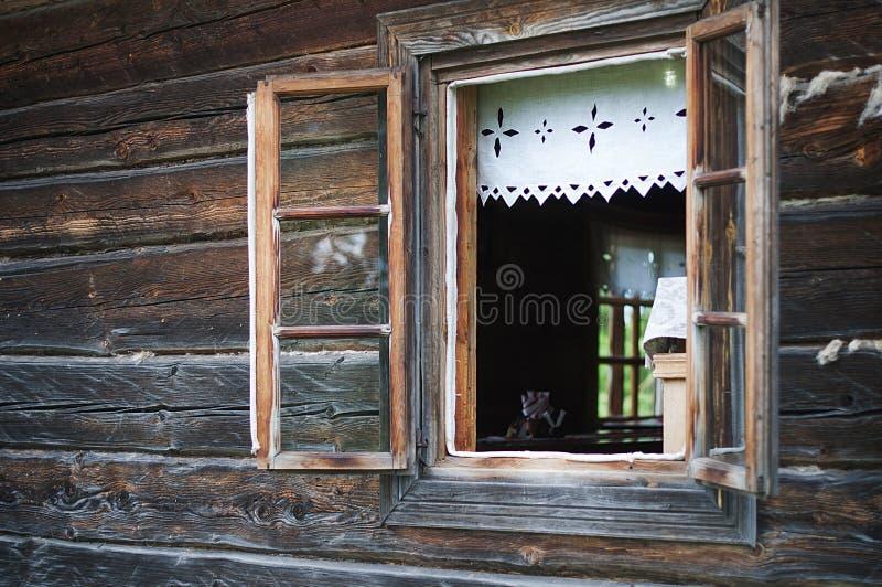 一个老被打开的窗口 图库摄影