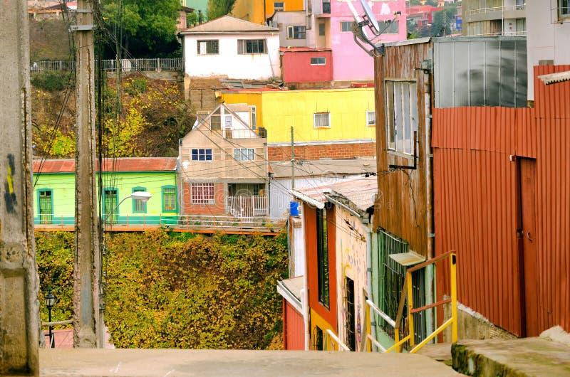 一个老邻里在瓦尔帕莱索,智利 库存图片