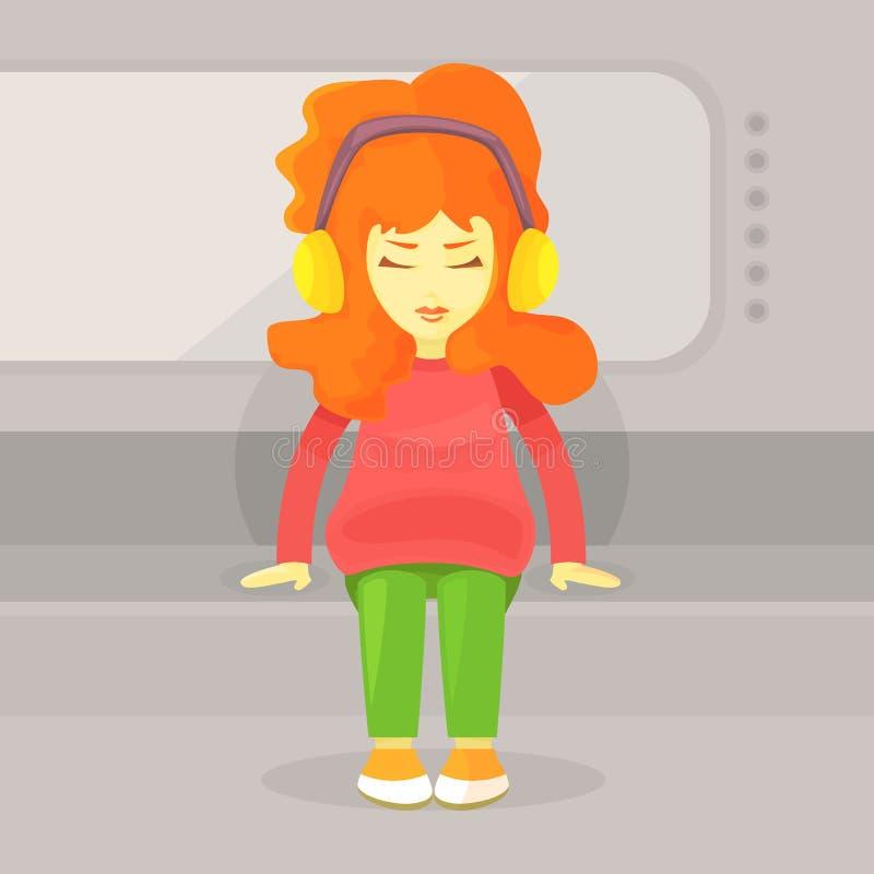 一个聪慧的红发女孩在地铁坐 向量例证
