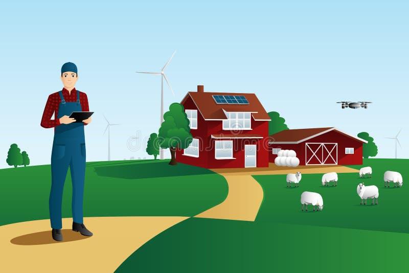 一个聪明的农场的现代农夫 库存例证