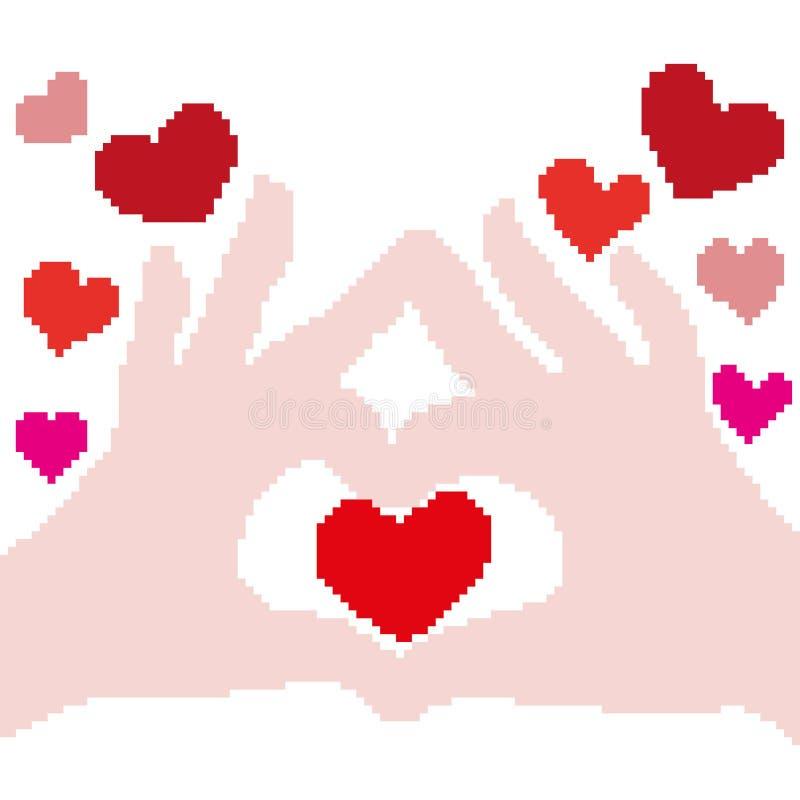 一个肤色的棕榈剪影和红心在绘附近与正方形和映象点 爱标志标志 皇族释放例证