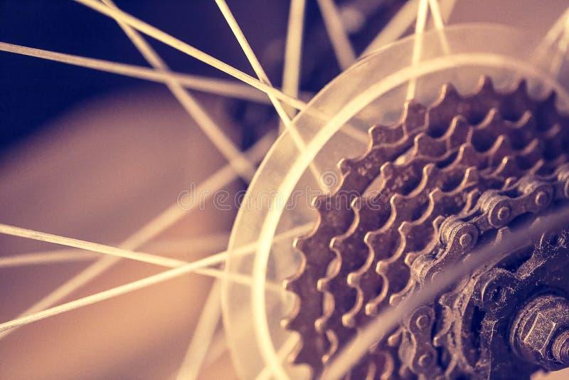 一个自行车齿轮机构的特写镜头在后轮的 免版税库存照片