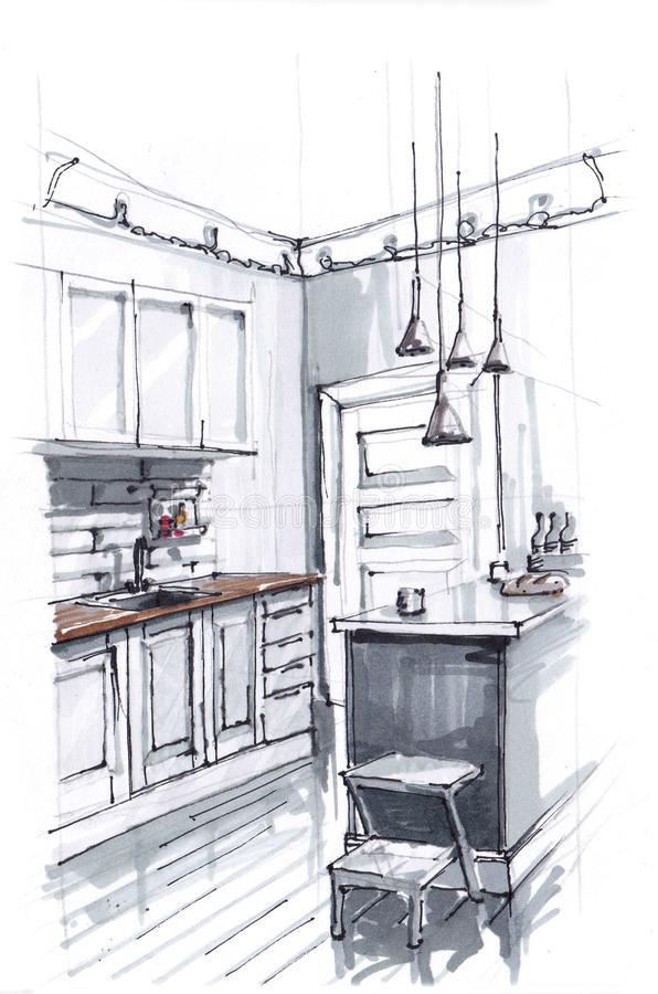 一个舒适厨房的内部的剪影温暖的明亮的颜色的 烹调区域和饭桌 顶楼式 ?? 库存例证