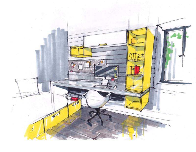 一个舒适演播室的内部的剪影,黄色口气的顶楼 大Windows,在一个现代样式,a的一把椅子 向量例证