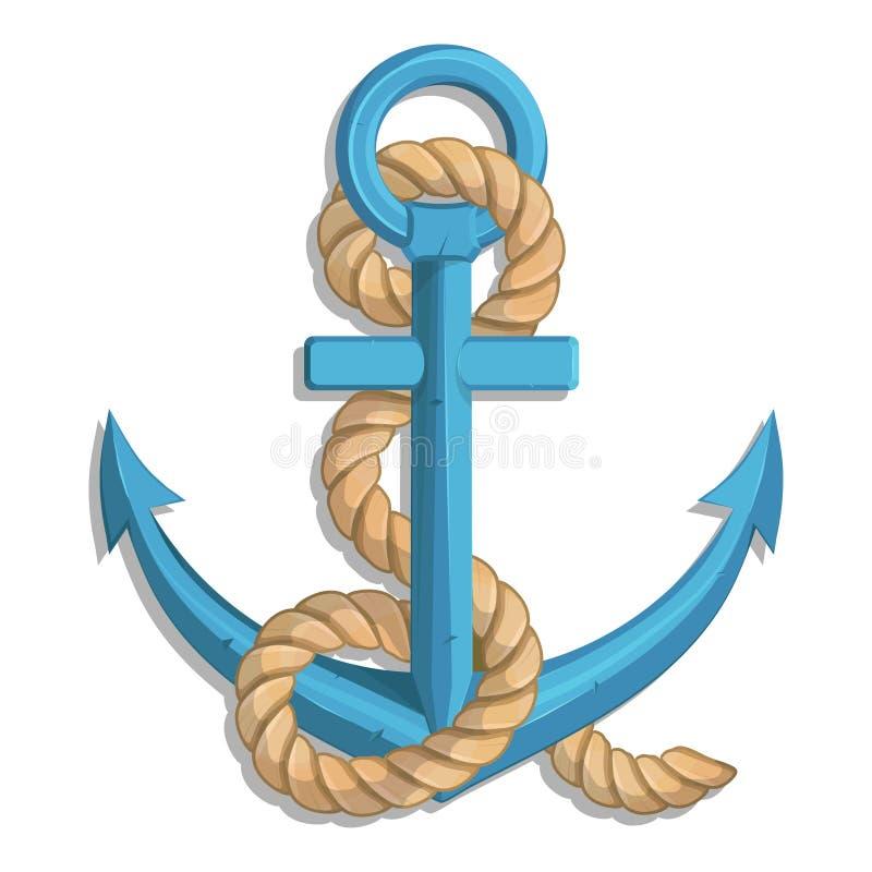 一个船` s船锚的例证有绳索和船的 皇族释放例证