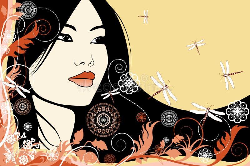 一个花卉背景的亚裔女孩 向量例证