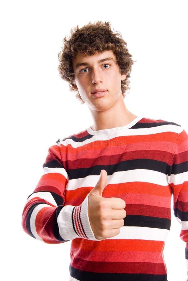 一个英俊的年轻人的纵向 免版税库存图片