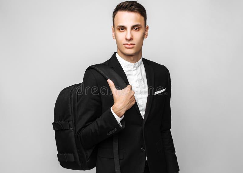 一个英俊的年轻商人的画象,男性,在经典bl 库存图片