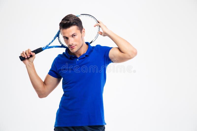 一个英俊的男性网球员的画象 免版税库存照片
