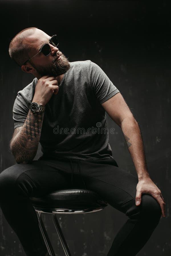 一个英俊的balded人的画象有长的好的被整理的胡子佩带的看太阳镜和灰色的衬衣的支持 库存照片