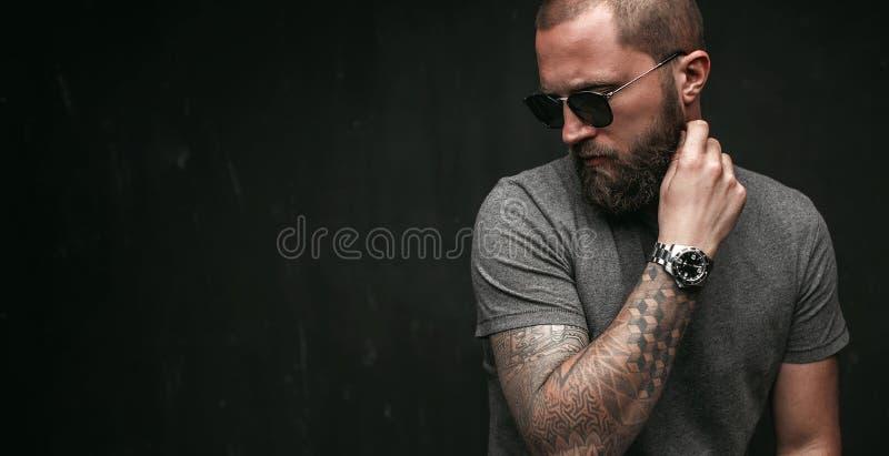 一个英俊的balded人的画象有长的好的被整理的胡子佩带的看太阳镜和灰色的衬衣的支持 库存图片