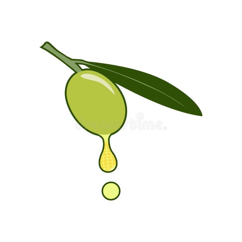 一个草本商标的一个橄榄色的例证 放松地方的商标  免版税库存照片