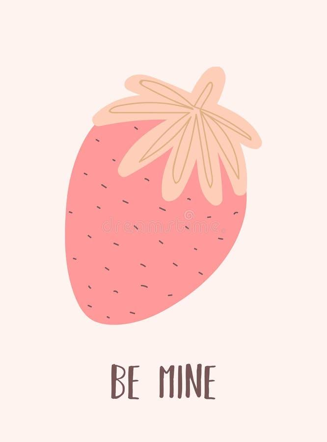 一个草莓的传染媒介图象与题字的是我的 在桃红色和米黄颜色为情人节,恋人,prin的例证 向量例证