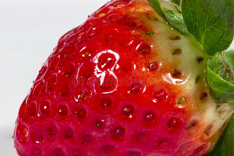 一个草莓的细节在白色的 免版税库存照片