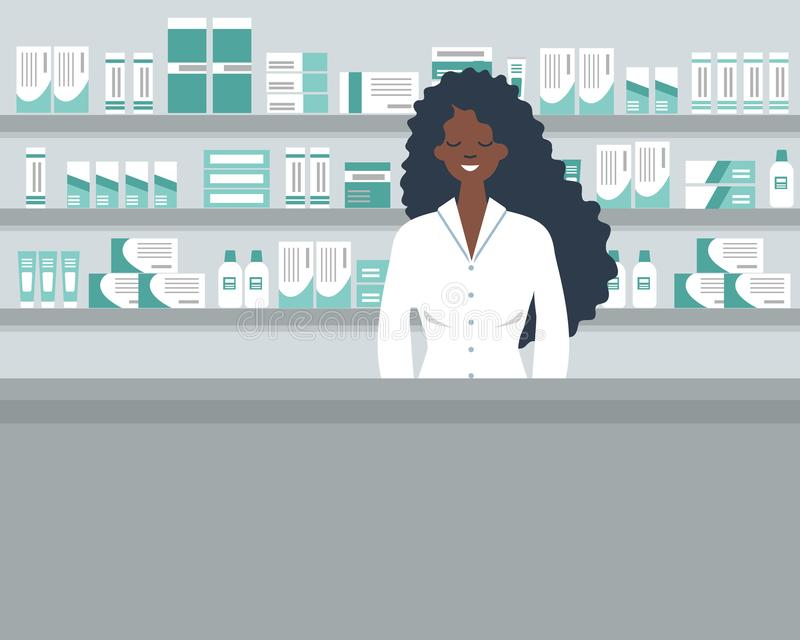 一个药剂师年轻黑人妇女的网横幅在药房的工作场所 向量例证