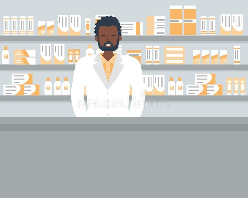 一个药剂师年轻黑人的网横幅在药房的工作场所 库存例证