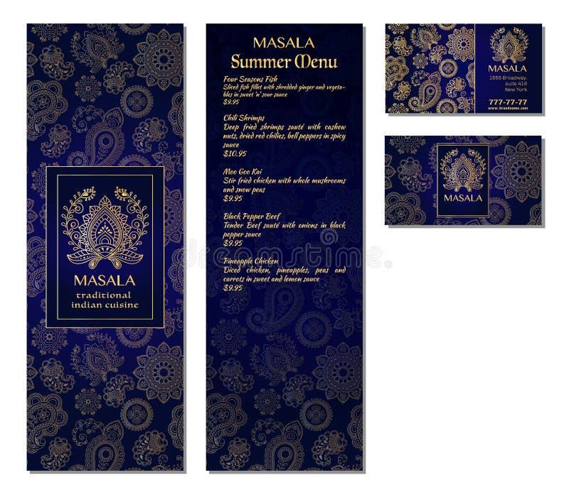 一个菜单卡片模板设计的传染媒介例证餐馆或咖啡馆印地安东方烹调的 亚洲人、阿拉伯人和黎巴嫩人cuis 向量例证
