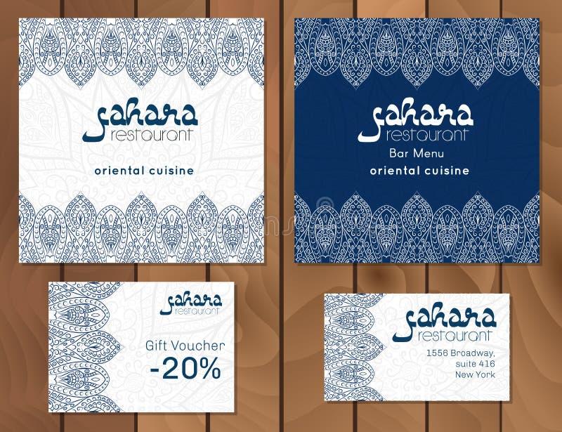 一个菜单卡片模板设计的传染媒介例证餐馆或咖啡馆阿拉伯东方烹调的 亚洲人、阿拉伯人和黎巴嫩人cui 皇族释放例证