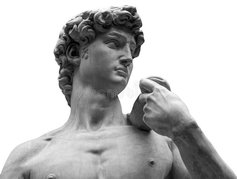 一个著名雕象的头从佛罗伦萨的米开朗基罗-大卫,隔绝在白色 免版税图库摄影