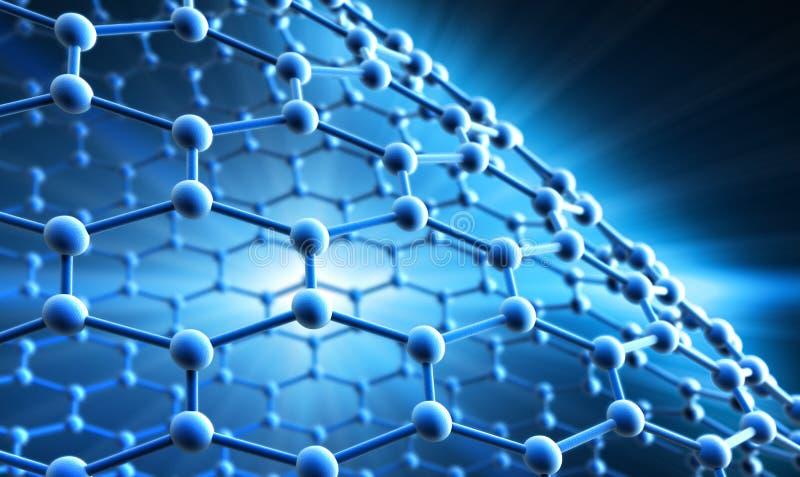 一个蓝色分子的栅格- 3d结构形象化 皇族释放例证