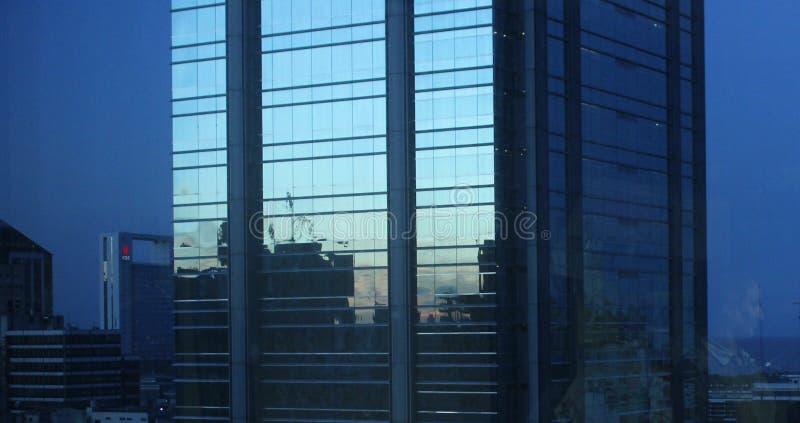 一个蓝色城市的大厦 库存图片