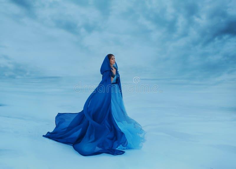 一个蓝色斗篷的一个流浪汉那挥动在风 一件豪华蓝色礼服的女王/王后在被盖的一个冻谷中 库存照片