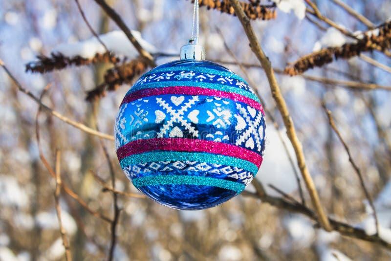 一个蓝色新年球在与雪的一个分支垂悬 空白背景圣诞节玻璃查出的范围的玩具 免版税库存照片