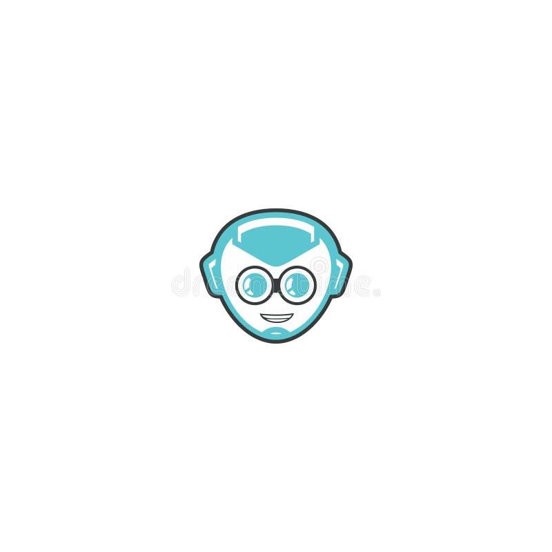 一个蓝色机器人 向量例证
