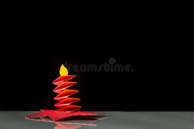一个蜡烛由纸制成由孩子 免版税图库摄影