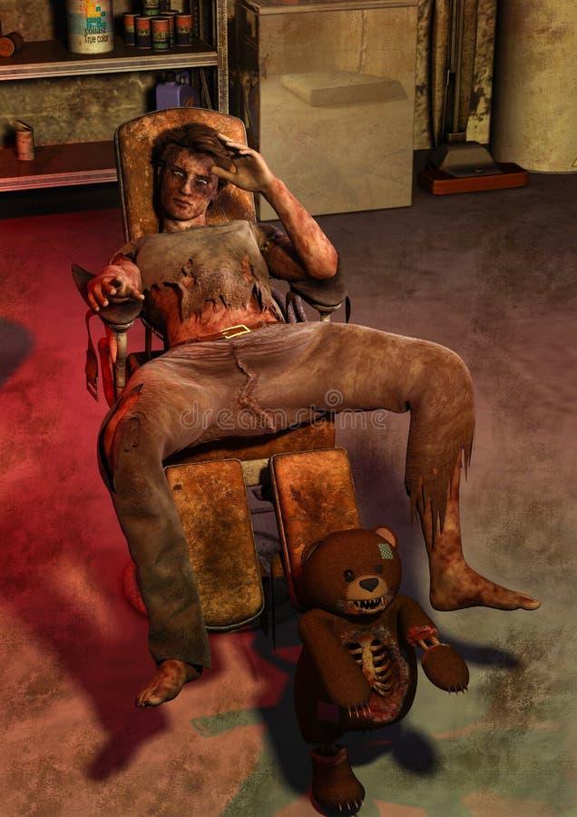 一个被困扰的玩具熊的场面与坐在一把肮脏的椅子的尸体的 皇族释放例证