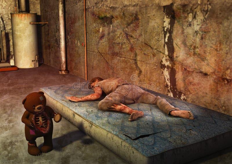 一个被困扰的玩具熊的场面与说谎的尸体的一个肮脏的床垫 皇族释放例证