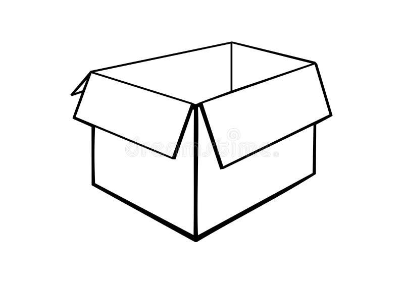 一个被打开的纸板箱 向量例证