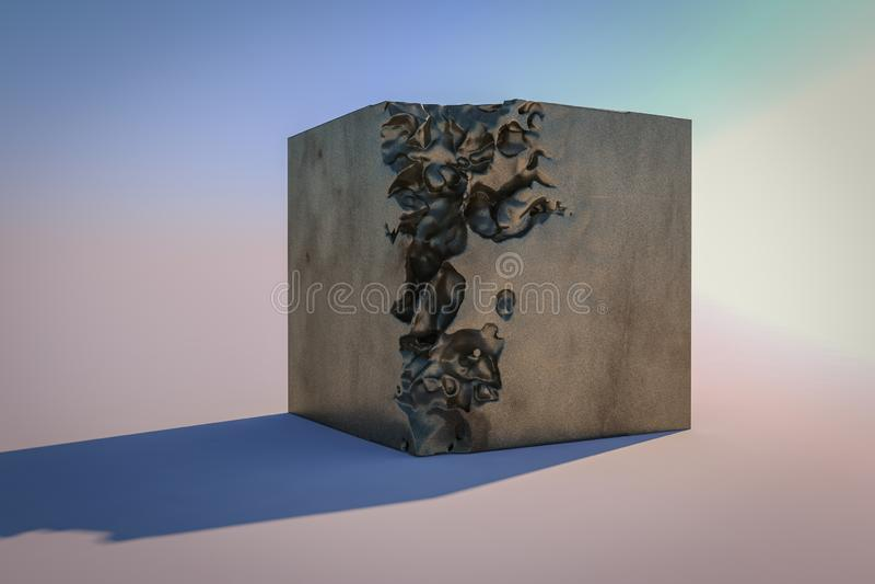 一个被拆毁的3d立方体 向量例证