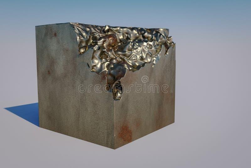 一个被拆毁的3d立方体 皇族释放例证