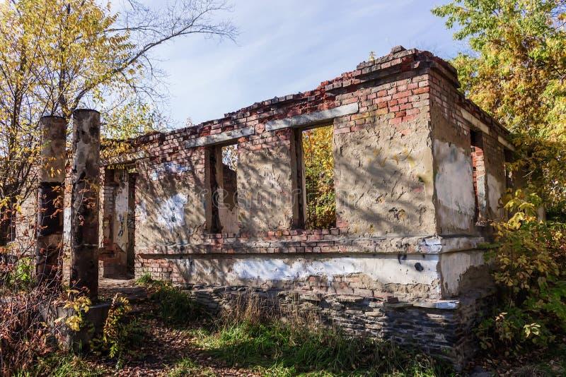 一个被放弃的大厦的废墟在森林里 免版税库存图片