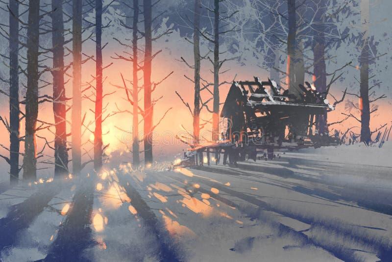 一个被放弃的房子的冬天风景在森林里 免版税库存照片