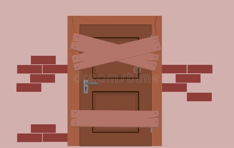 一个被放弃的房子的门,上  皇族释放例证