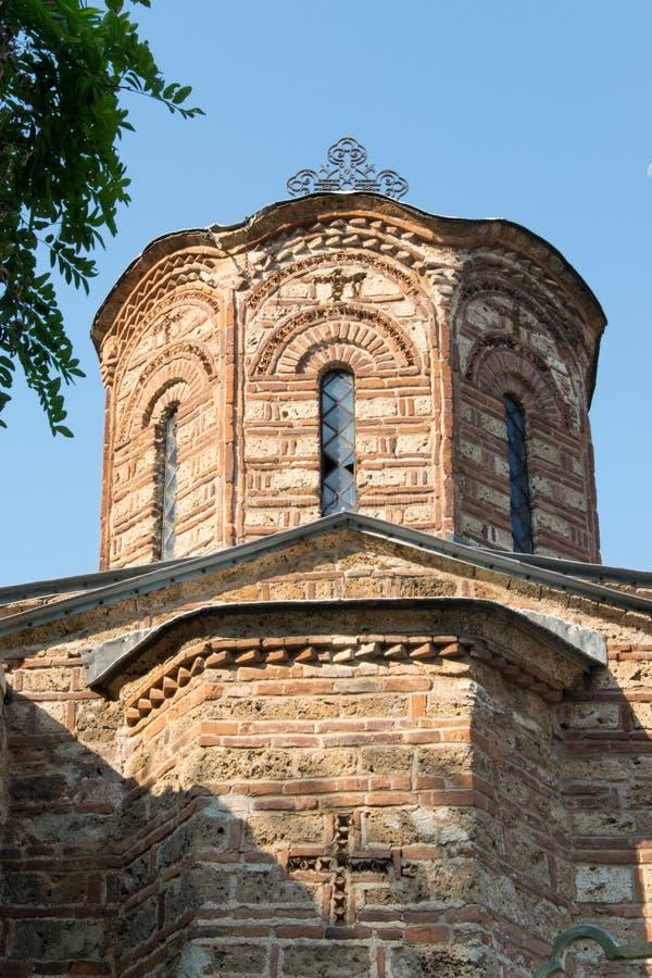 一个被破坏的教会的细节在普里兹伦,科索沃 库存图片