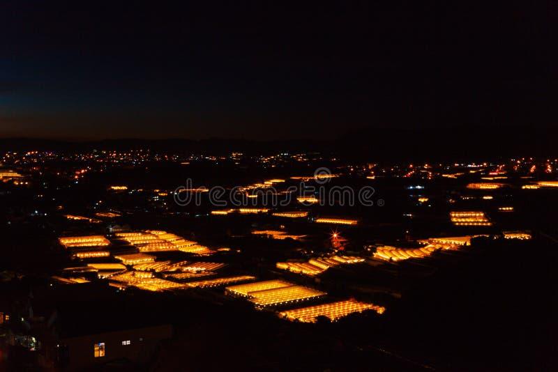 一个谷的夜景在大叻以种植花和菜的温室 库存照片
